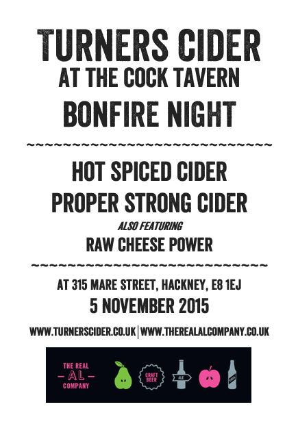 Turners Cider Cock Tavern poster - 5 Nov